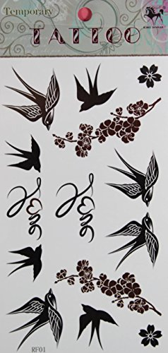 ggsell-king-horse-hot-selling-new-design-swallow-and-plum-temporary-tattoo-stickers