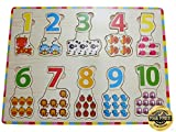 EasY Kid's ToY Holzpuzzle Bunte Zahlen 1-10 mit Tieren, Bestes Holzspielzeug für Spielerisches Lernen von Zahlen Motorikspielzeug ab 2 Jahre Rahmenpuzzle Geschenk für Kinder, Kinderpuzzle für Spiel Spass Freude