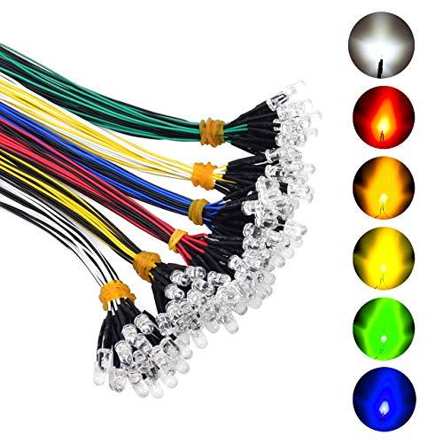 Lanyifang 120pcs 6 Couleurs Diode LED Pré-câblée Diode Ampoule LED Clignotant Câblé Diode Electroluminescente Blanc Rouge Bleu Vert Jaune Blanc Chaud