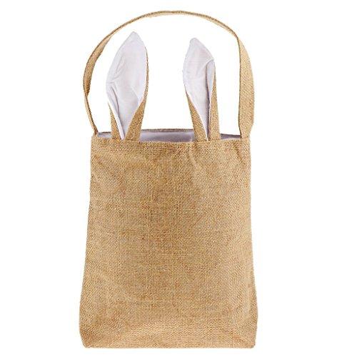 (Formemory Ostern Bunny Tasche Tote Handtasche,Ostern Tasche Tasche,Bunny Ear Bag, Dual Layer Bunny Ohren Design Jute Stoff Material,der Eier Geschenke für Ostern Party Grün)