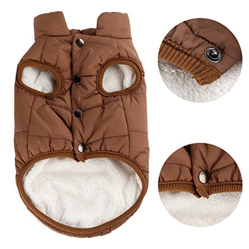 PENVIO Haustier Hunde Kleidung, Winter warme Mäntel und Jacken für kleine mittelgroße Hunde (M, Braun) -