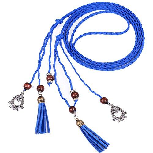 BZLine® Frauen Fashion Tassel geflochten Anhänger Taille Gürtel Damengürtel (Blau) -