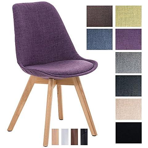 CLP Design Retro Stuhl BORNEO Stoffbezug, Holzgestell, gepolstert Lila, Holzgestell Farbe natura (Stühle Lila)