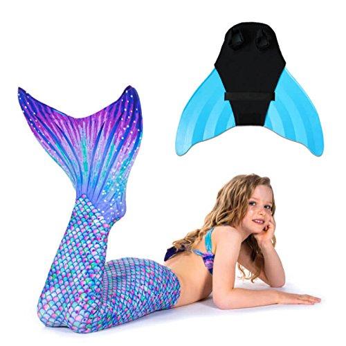 auen Flossen Set Schwimmen Kostüm Aurora Borealis mit Monoflosse Keiki Kinder Nunui Jugendliche Erwachsene JL türkis ()