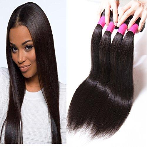 tissage brésilien Vierge cheveux raides 3 trames avec 1 4 * * * * * * * * 4 en dentelle fermeture trois partie 100% véritable Extensions de cheveux humains Couleur naturelle (14 16 18 + 35,6 cm trois partie Fermeture)