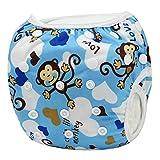 Sijueam Couche de bain bébé Lavable ajustable Maillot pour Piscine Natation Unisexe Imperméable Culotte Anti-fuite 0-18 mois/10-18 kg Blue Monkey