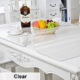 HM&DX Transparentes Manteles de mesa Impermeable Libre de aceite Lavables 1mm de espesor Alfombra de tela cubierta de mesa de Multi-size Protector tabla Para cocina comedor mesas de centro-Cristal 80x140cm(31x55inch)