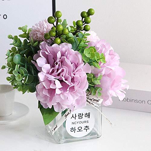 ZHIHUIflower Kleiner Simulationstisch Strauß mit Vase Wohnzimmer Topf Deko Set Nordic Pendel Blumenkunst Deko Netz rot INS Han,Lila