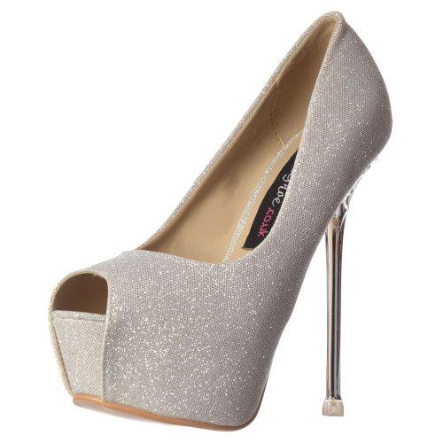 Festa Tacco Glitter Onlineshoe Donna Corte Peep Toe Scarpe - Dettaglio Tacco Oro - Oro, Argento, Nero UK6 - Eu39 - Us8 - Au7 Argento Tacco