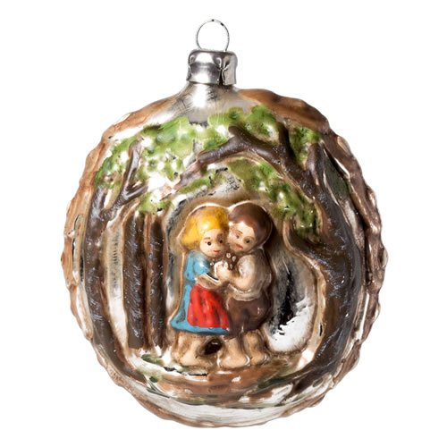 Marolin Décoration pour sapin de Noël en verre Motif Hansel & Gretel Effet patiné