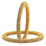 #10: YouBella Jewellery Traditional Gold Plated Bracelet Bangle Set For Girls and Women (2.6)