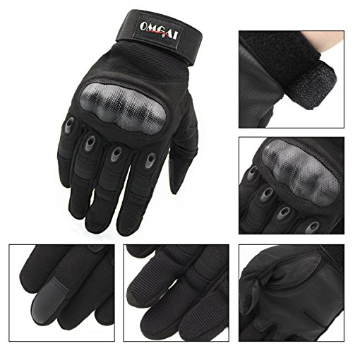 OMGAI Upgraded Men's Full Finger Tech Touch Gloves for Motorcycle Climbing hiking Outdoor Sports Smart Gloves, M