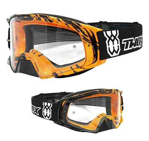 TWO-X Rocket Crossbrille Crush schwarz orange klar MX Brille Motocross Enduro Klarglas Motorradbrille Schutzbrille mit Nasenschutz Anti Scratch Fast Change