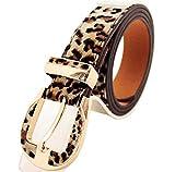 WODISON Cinturón de leopardo mujeres de cuero de imitación Longitud de impresión 41.3-45.3 pulgadas Ancho 1,1 pulgadas