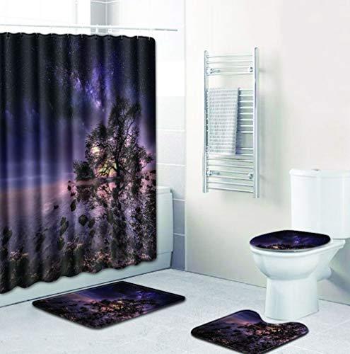 TWCUR Duschvorhang-Matten vierteilige Sternenhimmel Teppiche Duschvorhang Badematte 4-teilig Rutschfeste Badteppiche U-förmige WC-Matte WC-Sitzbezug (Farbe : B, größe : 180 * 180/45 * 75cm)