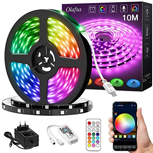 Olafus Alexa LED Streifen 10M, RGB LED Strip WiFi, 16 Millionen Farben, Musik Sync 300 LED 5050 Lichtband mit Fernbedienung, App Steuerung, LED Band Kompatibel mit Alexa, Google Home