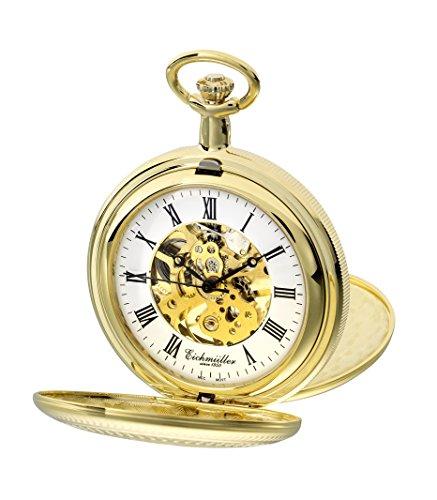 PUREgrey Taschenuhr Doppeldeckel Skelett mechanisch vergoldet mit Kette und Etui