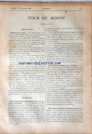 COSMOS [No 299] du 18/10/1890 - TOUR DU MONDE - METEOROLOGIE / PREVISION DU TEMPS / L'ABBE FORTIN - UNE TRANSMISSION HYDRAULIQUE POUR LES MOTEURS ELECTRIQUES - L'ECLAIRAGE ELECTRIQUE AUX CANARIES - FILAMENTS DE LAMPE A INCANDESCENCE EN IRIDIUM - VOITURE-TREUIL ET BALON MILITAIRE