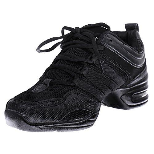 Generic Damen Tanz Sneaker Tanzschuhe Tanzsneakers Damentanzschuhe Zubehör Schwarz + Grau