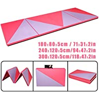 CCLIFE Tragbar Faltbar Gymnastikmatte Weichbodenmatte Yogamatte Turnmatte Fitnessmatte Klappmatte Klappbar 300x120x5 / 240x120x5 / 180x80x5 cm Rosa + Lila Großauswahl