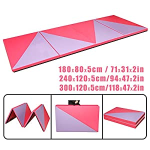 CCLIFE Rosa+Lila Weichbodenmatte Turnmatte Klappbar Gymnastikmatte 240x120x5/180x80x5cm