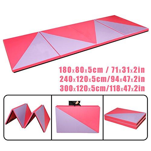 CCLIFE Rosa+Lila Weichbodenmatte Turnmatte Klappbar Gymnastikmatte 240x120x5/180x80x5cm, Größe:240x120x5cm