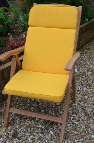 Classica sedia sdraio da giardino, cuscino e schienale-Cuscino solo-giallo