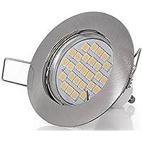 Faretto da incasso 230 V, 5 watt, 450 lumen, LED bianco caldo, angolo di diffusione 120°, GU10, attacco incluso