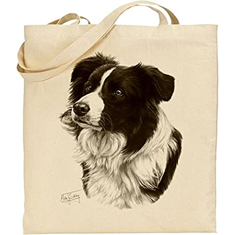 Mike Sibley Border Collie Cotton Natural Bag by C & S Products