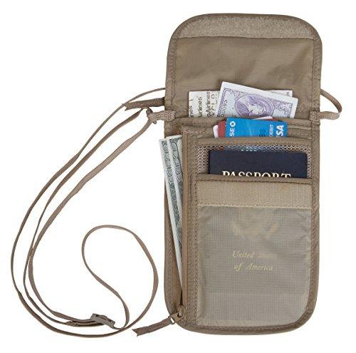 Eagle Creek Flacher Brustbeutel Undercover Neck Wallet DLX Halstasche mit vielen Abteilen für Geld und Pass, khaki