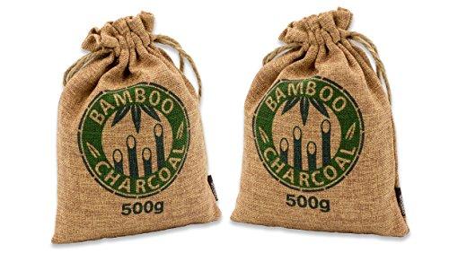 Natürlicher Bambus Lufterfrischer mit Aktivkohle – Wunderkissen – Luftreiniger für Wohnzimmer, Küche, Schlafzimmer, Bad & Auto - Schadstofffrei und 100 % biologisch abbaubar - Doppelset - 2x500g braun