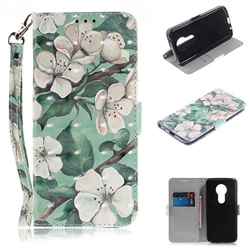 Cozy Hut Motorola Moto E5 Hülle, Flip PU Leder Tasche mit Intern Karte Schlitz, Magnetic Closure mit Standfunktion & Handy Gürtel Schutzhülle für Motorola Moto E5 - Birnenblume