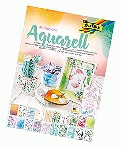 Folia 48749 - Bloc de Acuarela (270 g/m², Aprox. 24 x 34 cm, Hojas Surtidas en 20 diseños Diferentes