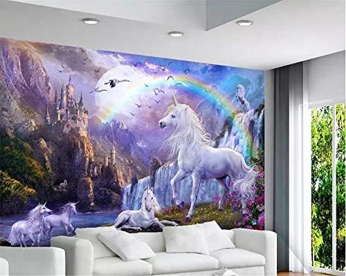 Tapeten wohnkultur Blauer himmel regenbogen einhorn tapete schlafzimmer landschaft ölgemälde...
