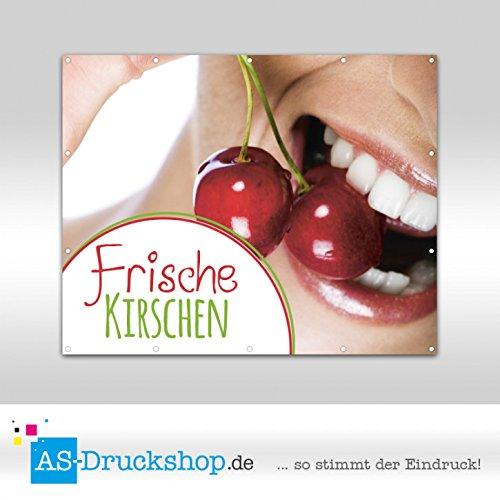Werbebanner Kirschen - mit Biss / Groß - 300 x 200 cm - mit Ösen - Große Biss