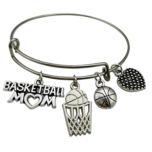 Edelstahl verstellbar Draht Armreif Basketball Mom Charm Armband Frauen Jewlry Geschenk Draht-armband-charms