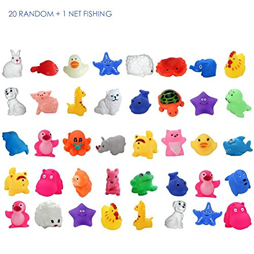 20 Pcs Badespielzeug Für Kinder,Schwimmende Tiere Wasserspielzeug Squeaker Spielzeug Bad Pool Zubehör Badewanne Spielzeug Pädagogisch Spielzeuge