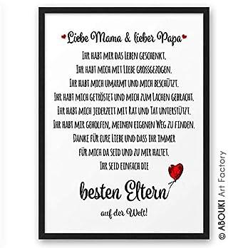 Beste Eltern ABOUKI Kunstdruck Poster Bild Geschenk-Idee Familie Frauen Männer Mama Papa Oma Opa Geburtstag Weihnachen – ungerahmt DIN A4