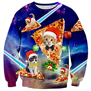 Uideazone Men's Christmas Jumpers All Over Print Pizza Cat Shirt, B-cat blue, Asia XL= UK L