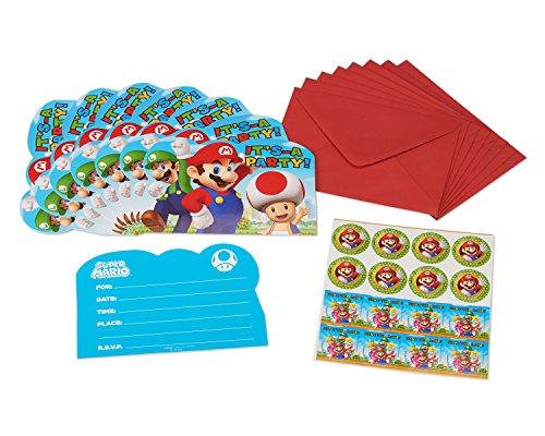 amscan 491554Einladungskarten, Motiv Super Mario (Super Mario Brothers Geburtstag)