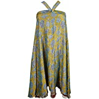 Mogul Interior Womens Skirt Reversible Two Layer Silk Sari Magic Wrap Skirt Dress (Yellow-1)