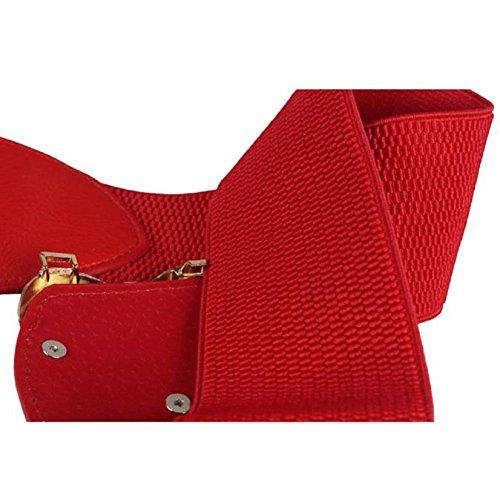 FEITONG Hot Vendre Fashion Lady Retro Fashion Decorative ceinture élastique élastique large ceinture Beige