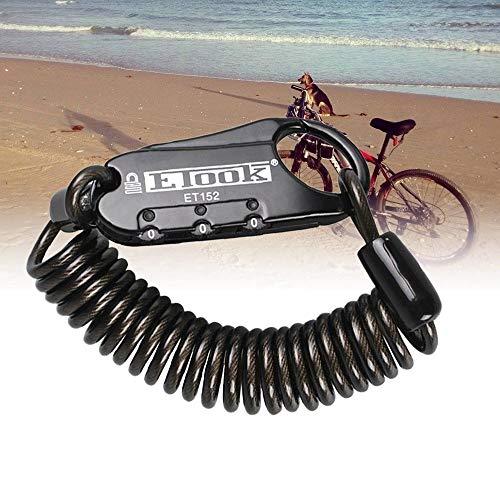 QHJ Fahrrad Zubehör Tragbare Fahrradschloss Fahrrad Kombinationsschloss Fahrrad Code Lock Travel Helmschloss (Schwarz)