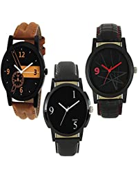 Royal India Overseas New Stylish 3 Combo Watch For Boys & Men (Brown & Black)