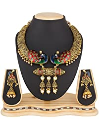 Luxor Fashion Jewellery Antique Gold Plated Alloy Peacock Bridal Jewellery Set For Women