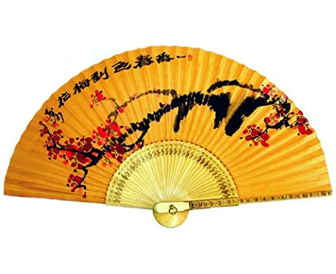 peinte à la main pliable Rouge Prune Fleur Peinture coréen Mulberry papier de riz teints avec Jaune du sol en bambou en bois Art asiatique Oriental mural Deco Handheld Fan