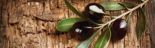 Artland Qualität I Glas Küchenrückwand ESG Spritzschutz Küche 180 x 56 cm Ernährung Genuss Speisen Obst Foto Braun G5SS Oliven vor Einem Holzhintergrund