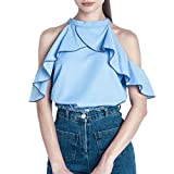 Tefamore Mode Womens Off Shoulder Tops Blouson à volants décontracté ...