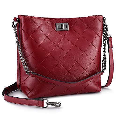 Aus Echtem Leder Eimer Handtasche (S-ZONE Damen Handtasche aus echtem Leder, Rot (weinrot), Small)