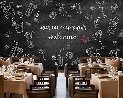 Lxsart Schwarzes kaltes Getränk-Tee-Geschäft-Hintergrund-Wand-einfaches Restaurant-kundenspezifisches Tapeten-Café-Wandgemälde der Dekorations-3D-350cmx245cm